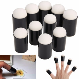 Wholesale foam arts crafts - 3 5 10pcs Finger Sponge Case Daubers Foam for Applying Painting Ink Stamping Chalk Mayitr Reborn DIY Craft Art Tool 15* 32 mm