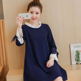 Wholesale Design For Pregnancy Clothing - Fashion Brand Design Pregnant Women Patchwork Lace Dress Plus Size Casual Pregnancy Clothing Maternity Dresses for Pregnancy