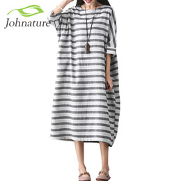 0134aca10e35 All ingrosso - Johnature Women Striped Dress Plus Size Abbigliamento donna  2017 Spring Casual Cotton Lino O-Collo Sette abiti vintage allentati linea  ...
