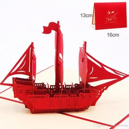 """Wholesale Good Birthday Cards - 3D Pop Up Greeting Card Ship Means """"Good Luck"""" Thank You Birthday Gift Greeting Card KT0942"""