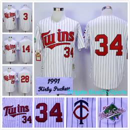 Wholesale Mens Twins - Throwback Kirby Puckett Jersey Minnesota Twins 28 Bert Blyleven,14 Kent Hrbek,3 Harmon Killebrew Retro Baseball Jerseys White Strips Mens