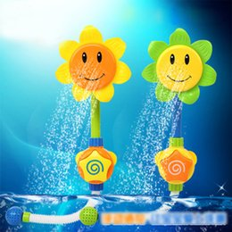 Wholesale Water Tap Set - 2017 Lovely Sunflower Fountain Baby Bath Toys Water Spraying Taps Bathroom Submarine Bathtub Play Sets For Childrens