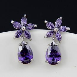 Wholesale Bridal Earrings Diamond Chandelier - Dazzling Purple Diamond Bridal Earrings Flower Shape Luxury Cubic Zirconia Dangle Wedding Earrings Bridesmaid Earrings In Stock