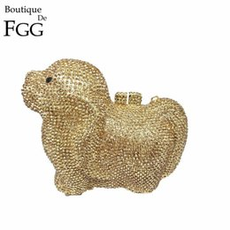 Wholesale Dog Shaped Handbags - Wholesale- Gift Box 6 Colors Doggy Crystal Casual Clutch Evening Bags Women Dog Diamond Day Clutches Rhinestones Wedding Bag Handbags Purse