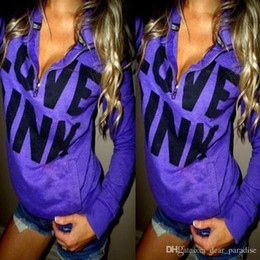 Wholesale Cheap Love Pink - Cheap Discount Autumn Fashion love Pink Women Hoodies Pullovers VS PINK Hoodies Women Harajuku Cute Purple Clothings Size S-XL