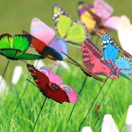 Wholesale Gardening Decor - Metal Garden Flowers Inserted Butterfly Dragonfly Decor DIY Different Colors Butterflies With Nature Decorative Ornaments