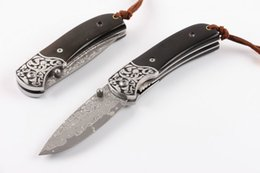 Wholesale Wholesale Damascus Steel - Special Offer EDC VG10 Damascus Steel Pocket Folding Knife Horn Handle Drop Point Blade Knives Small Fold Knife Xmas Gift