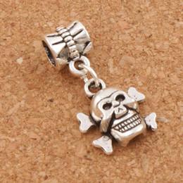 Wholesale Skeleton Skull Beads - Skull Skeleton Big Hole Beads 100pcs lot 25.1x12.9mm Antique Silver Dangle Fit European Charm Bracelets Jewelry DIY B975