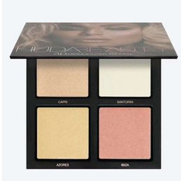 Wholesale eyeshadow palette cosmetics - 2017 Eyeshadow Makeup Palette 3D HIGHLIGHTER Cosmetic 4 Colors 2 Style Face Makeup Powder Mattes Highlighter Eyeshadow gold pink sands
