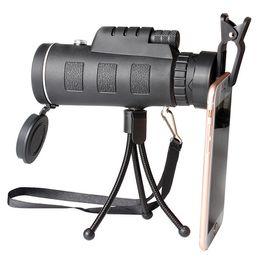 Telescopio de visión nocturna hd online-Telescopio monocular 40X60 Clip para teléfono Trípode HD Visión nocturna Prisma Alcance para la caza Acampar escalada Pesca con brújula 1 unids en venta minorista