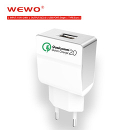 Wholesale Usb Wall Adapter Europe - Single Port Quick Charge 2.0 5V 2.4A USB Wall Charger Europe Plug Travel Power Adapter for Galaxy S7 S6 Edge