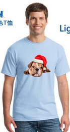 Wholesale Hat Tee - 2017 Fashion dog in a Christmas hat T-shirt Tee 100% Cotton T shirt Men 's T-shirts