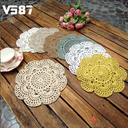 Wholesale Knitting Doily - Wholesale-20CM Handmade Cotton Table Mat Vintage Floral Hand Crochet Solid Lace Knitted Doily Cup Pads Doilies Crochet Placemat Coasters