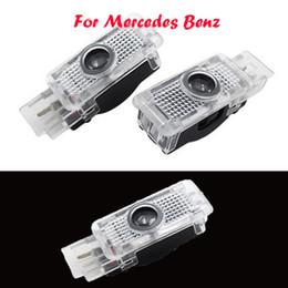 Wholesale Mercedes Clk - 2X LED Car Door Courtesy Lights Ghost Shadow Logo Lights for Mercedes Benz W203 SLK R171 R172 CLK W208 W209 SLR C119 W240