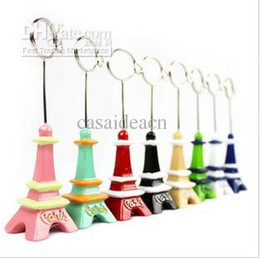 Wholesale Eiffel Tower Place Card Holders - Eiffel Tower Place Card Holder Mini Paris Memo Message Wire Clip Holders Creative Name Card Photo Clip Stand Wedding Table Favors