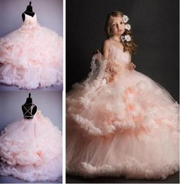 Wholesale Princess Style Prom Dresses Pink - Pink Tulle Princess Bridesmaid Flower Girl Dresses Wedding Party Prom Dress Girls Pageant First Communion Gown Custom Made