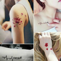 Wholesale Tattoo Design Colorful - Fashion Waterproof Tattoo Stickers colorful Design Temporary Tattoos Foil Decal Fashion Body Art Tattoos Women Men mixed wholesale