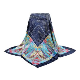 Wholesale Lady Large Rings - Wholesale- Four Season Fashion Square Scarves 90 90 Women Scarves Ring Large Silk Scarves Thin Big Size All-match For Ladies Bohemian Style