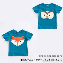 Wholesale Owl Shirts Girls - 2017 INS NEW ARRIVAL Boys Girls Kids t shirt short Sleeve round collar cartoon fox and owl print t shirt kid baby summer cool casual T shirt