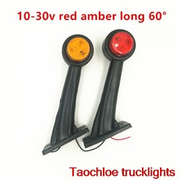 Wholesale Indicator Stalk - 2 X long 2'' E9 red amber truck amp 12V double face rubber stalk lamps side marker Light outline lamps indicator Trailer Truck