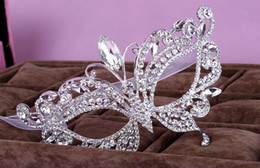 Wholesale Masquerade Accessories - In Stock gorgeous diamond-studded party mask Crystal Crowns Rhinestone Jewels bling masquerade Accessories