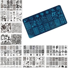 Wholesale Template For Stamping Nails - Wholesale-1 Pcs Nail Art Stamp Stamping Image Plate 6*12cm Stainless Steel Nail Template Manicure Stencil Tools, 20 Styles For Choose