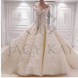 Wholesale Exquisite Wedding Dress Off Shoulder - 2017 Gorgeous Lace Applique Bead Ball Gown Luxury Wedding Dresses Off-Shoulder Chapel Train Long Bridal Gowns NO Sleeve Vestidos Exquisite