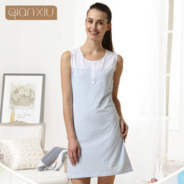 Wholesale One Piece Summer Pajamas - Wholesale- Qianxiu Cotton Pajamas Summer Coulp Lounge Wear Men short-sleeve Pajama Set Women sleeveless one-piece Nightgown