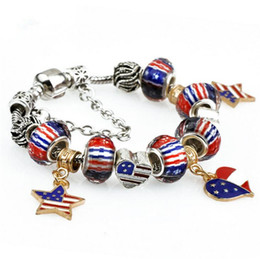 Wholesale Beaded Flags - 2017 hot sale american flag beads bracelets jewelry fashion women pandora style snap bracelets diy strand beaded bracelet drop shipping