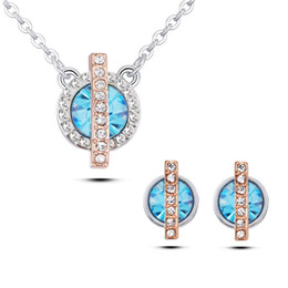 Wholesale Locking Earrings - 2017 environmentally friendly jewelry set dual color gold lock Love Earrings+necklace set of two set women's accessories 022-100