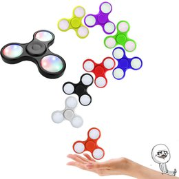 Wholesale Wholesale Fingertip Lights - Newest LED Fidget Spinner Hand Fingertip Spinner Gyro Style EDC Decompression Stress Anxiety Toy With Powder Switch Free DHL Shipping LEDF01