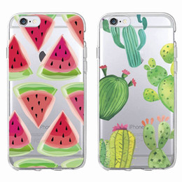 Wholesale Iphone 4s Watermelon Cases - Cute Watercolor Watermelon Cactus Cactaceae Phone Case Cover For iPhone 7 7Plus 6 6S 6Plus 5 5S SE 5C 4 4S SAMSUNG