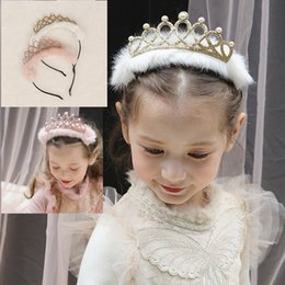Wholesale Kids Fur Headbands - 2017 Wedding children Hair Accessories Shining Bridal Tiara Crown Headband kids Hair Accessories with fur pearls kids crown hair stick b1361