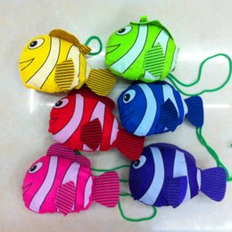 Wholesale fish squares - Tropical Fish Design Storage Bag Folding Polyester Fiber Shopping Pouch Resuable Eco Friendly Organizer Hot Sale 2 4bx B