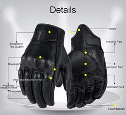 Wholesale Perforated Leather Gloves - Motorcycle Gloves Real Genuine Leather All Season Glove Touch Screen Perforate Men Racing Motorbike Motocicleta Guantes Luvas