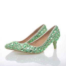Escarpins en strass vert chaussures de fête de mariage talon moyen bout pointu graduation chaussures de danse de bal mère en cristal chaussures de mariée ? partir de fabricateur