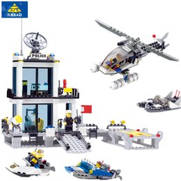 Wholesale Plastic Model Helicopters - Police Station Building Blocks Helicopter Boat Model Bricks Toys Compatible famous brand brinquedos Birthday Gift