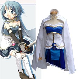 Wholesale Sayaka Miki Cosplay Costume - Anime Puella Magi Madoka Magica Miki Sayaka Cosplay Uniform Suit Full Set Women's Halloween Costumes Dress