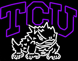 Wholesale Frog Lighting - New Brand TCU Horned Frogs Light Glass Neon Sign Light Beer Bar Pub Arts Crafts Gifts Lighting 22""
