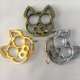 Wholesale Solid Brass Rings - Tiger Finger chain Handmade Solid pig Brass Key Chain Ring Tactical Outdoor ring tiger Self-defense Bottle opener Tools Set