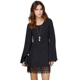 Wholesale White Shift Dress Long Sleeves - Fashion Women Chiffon Lace Shift Dress Crochet Hem Vestidos Long Sleeve Mini Dress Vestidos Femininos Femme Black White
