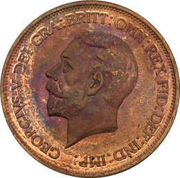 Wholesale Penny V - United Kingdom GEORGIVS V DEI GRA BRITT OMN REX FID IND IMP 1933 Red Copper One Penny With Smooth Edge Copy Coin
