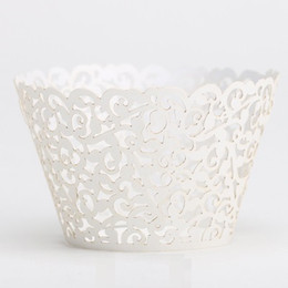 Wholesale Lace Cake Stand - 600pc Ivory Laser-cut Lace wedding Cake Wrapper Cupcake Wrapper FOR Wedding christmas Party Decoration (set of 120) O#37E