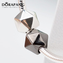 Wholesale Glass Cube Clips - DORAPANG Free Shipping 100% 925 Sterling Silver Clip And Clasp Charms Black & White Polyhedron Silver beads Fits for Bracelet Necklace 3044