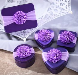 Wholesale Tin Boxes For Gifts - New Heart-Shaped Wedding Candy Chocolate Gifts Multi-Coloured Tin Favor Boxes With Sun flower For Wedding Party Free Shipping