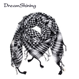 Wholesale Men Shemagh - Wholesale-DreamShining Arab Shemagh Tactical Palestine Light Polyester Scarf Shawl For Men Fashion Plaid Printed Men Scarf Wraps
