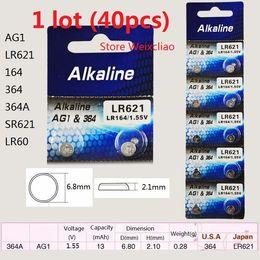 Wholesale Lr621 Button Cell Battery - 40pcs 1 lot AG1 LR621 164 364 364A SR621 LR60 1.55V Alkaline Button Cell Battery coin batteries Free Shipping