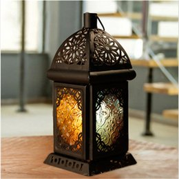 Wholesale Hanging Candlestick - 2017 Classic Moroccan Decor Candle Holders Votive Iron Glass Hanging Candlestick Candle Lantern Party Home Wedding Decoration