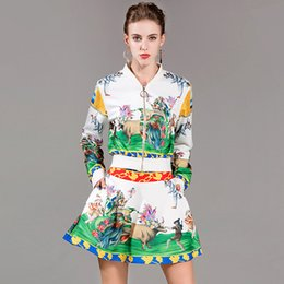 Wholesale Cross Jacket - 2017 fashion avant-garde fall new women's animal printing long-sleeved jacket + waist short skirt two-piece suit