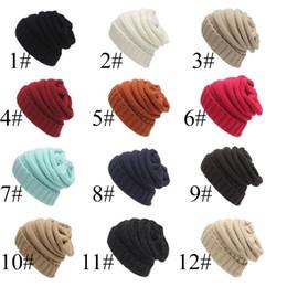 Wholesale 12 Sun Hats - Unisex Beanies Elegant Knitted Hats Cap Beanies Autumn Winter Casual Cap Women Men 12 Colors Free Shipping